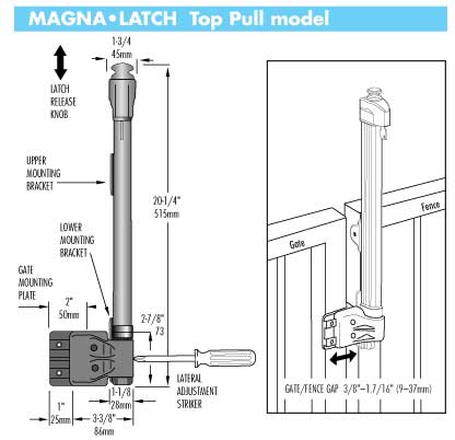 Aluminum Fencing Magna Latch For Pool Fences
