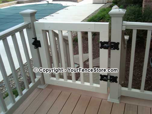 Gate kits for vinyl deck and porch railing vinyl railing gate kit with steel latch and hinges solutioingenieria Images