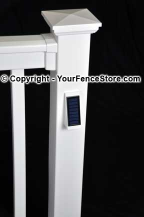vinyl fence solar light fences. Black Bedroom Furniture Sets. Home Design Ideas